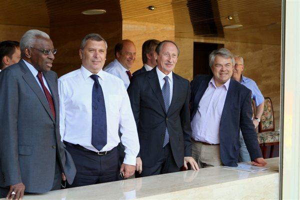 Visit to Luzhniki Stadium, Moscow: (l to r) IAAF President - Lamine Diack, Head of Moscow Department for Physical Education & Sport - Alexey Vorobiov, ARAF President - Valentin Balakhnichev, ARAF General Secretary - Mikhail Butov (IAAF)