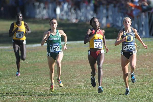 Betsy Saina of Iowa State (221) defeats Abby D'Agostino of Dartmouth (162) and Jordan Hasay of Oregon (292) to win the NCAA Cross Country title (Kirby Lee)