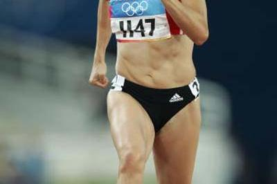 Kim Gevaert (BEL) in action in the women's 100m (Getty Images)
