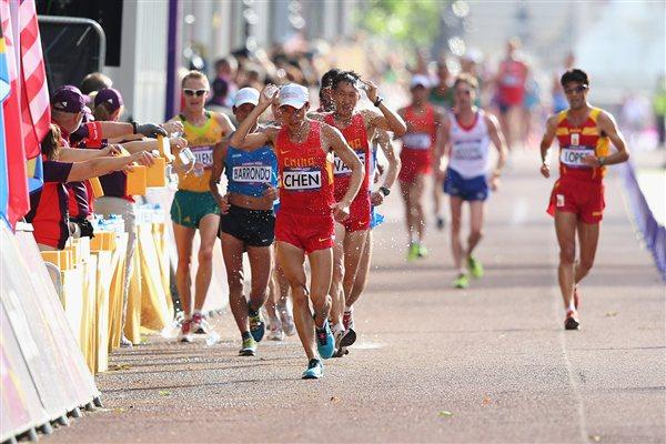 Chen Ding and Zhen Wang of China and Erick Barraondo Guatemala lead during the Race Walk Athletics on Day 8 of the London 2012 Olympic Games at Olympic Stadium on August 4, 2012 (Getty Images)