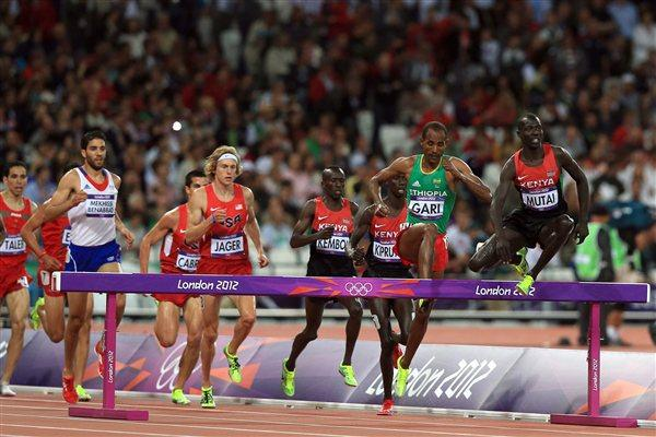Abel Kiprop Mutai of Kenya leads the pack during the Men's 3000m Steeplechase Final on Day 9 of the London 2012 Olympic Games at the Olympic Stadium on August 5, 2012 (Getty Images)