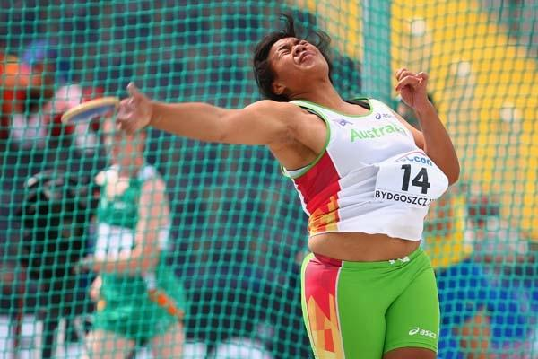 Lomana Fagatuai of Australia in the Women's Discus Throw qualifications (Getty Images)