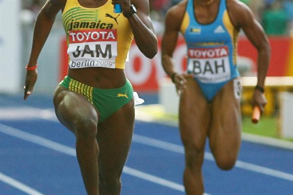 Jamaica's Kerron Stewart in the women's 4x100m relay heats in the Berlin Olympic Stadium (Getty Images)