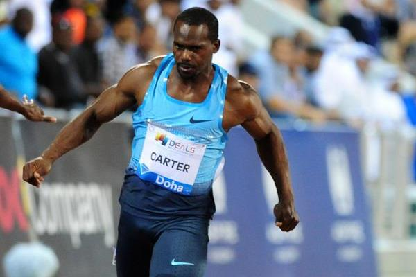 Nesta Carter in the 100m at the 2013 Doha Diamond League (Errol Anderson)