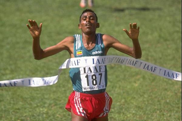 Million Wolde winning the junior men's title at the 1998 IAAF World Cross Country Championships (Getty Images)