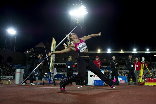 Mariya Abakumova at the 2013 IAAF Diamond League meeting in Stockholm (Anders and Hasse Sjogren)