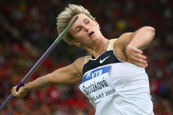 Barbora Spotakova en route to throwing a world record of 72.28m in the javelin (Getty Images)