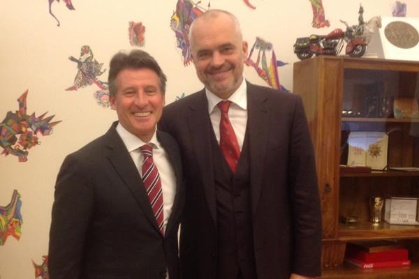IAAF President Sebastian Coe with Albanian Prime Minister Edi Rama  (IAAF)