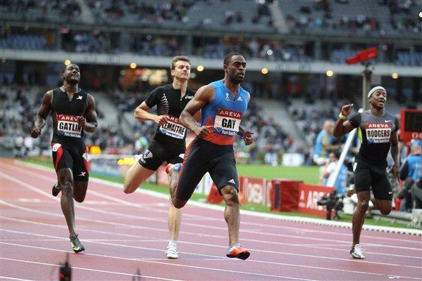 Tyson Gay eases back into fitness and form with a fine 9.99 victory in Paris (Jean-Pierre Durand)