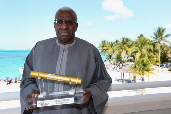 IAAF President Lamine Diack with Golden Baton trophy which will be awarded to the best overall team at the inaugural IAAF World Relays in Nassau (Getty Images)