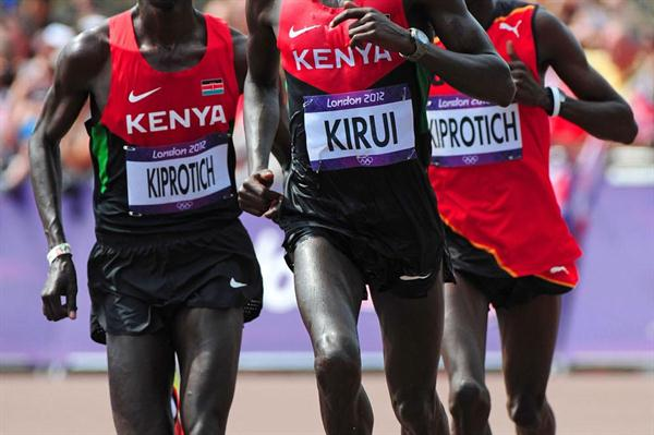 (L-R) Wilson Kipsang Kiprotich of Kenya, Abel Kirui of Kenya and Stephen Kiprotich of Uganda compete in the Men's Marathon  of the London 2012 Olympic Games (Getty Images)