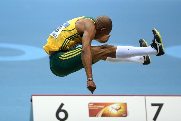 Zarck Visser in the long jump at the IAAF World Indoor Championships Sopot 2014 (AFP / Getty Images)