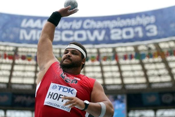 Reese Hoffa in the mens Shot Put at the IAAF World Championships Moscow 2013 (Getty Images)