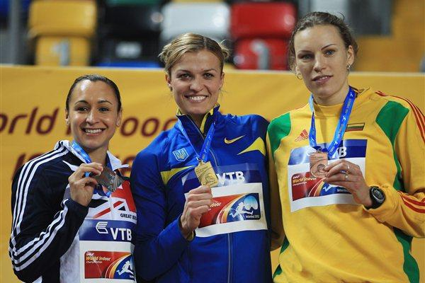 (L-R) Silver medalist Jessica Ennis of Great Britain, gold medalist Natallia Dobrynska of Ukraine and bronze medalist Austra Skujyte of Lithuania stand on the podium during the medal ceremony for the Women's Pentathlon  (Getty Images)