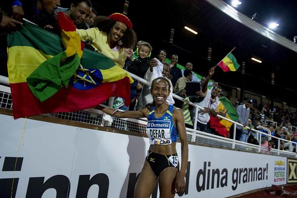 Meseret Defar after winning at the 2013 IAAF Diamond League in Stockholm (Anders and Hasse Sjogren)
