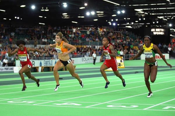 Barbara Pierre wins the 60m at the IAAF World Indoor Championships Portland 2016 (Getty Images)