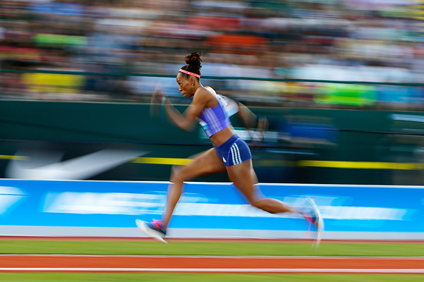Shara Proctor in action in the long jump at the IAAF Diamond League meeting in Eugene (Getty Images)