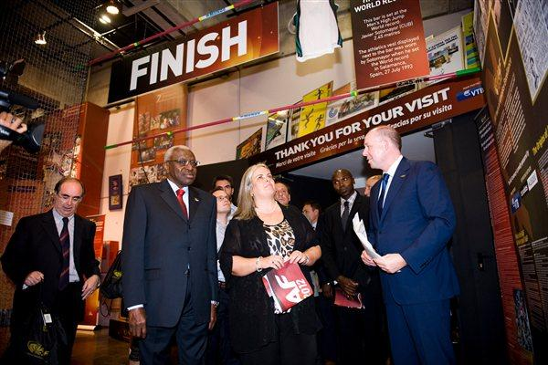 IAAF President Lamine Diack and Deputy Major of the City of Barcelona Maite Fandos and other guests at the IAAF Centenary Exhibition at the Joan Antoni Samaranch Olympic and Sport Museum in Barcelona (Getty Images)