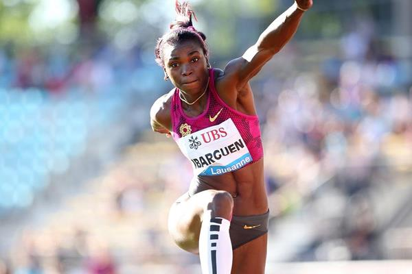 Caterine Ibarguen at the 2014 IAAF Diamond League meeting in Lausanne (Giancarlo Colombo)