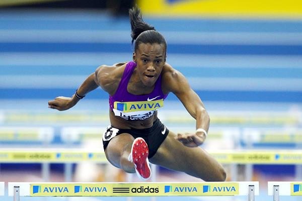 USA's Kellie Wells in the 60m hurdles (Getty Images)