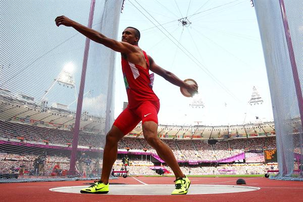Ashton Eaton of the United States competes during the Men's Decathlon Discus Throw on Day 13 of the London 2012 Olympic Games at Olympic Stadium on August 9, 2012 (Getty Images)