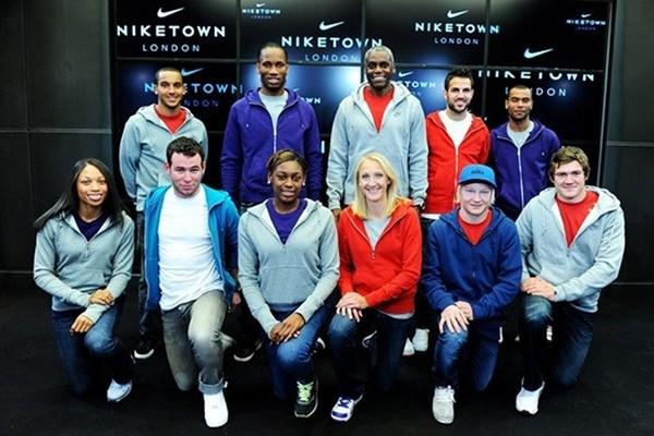 Allyson Felix (bottom row, right) joins several other stars at a the reopening of Niketown in London (Freelance)