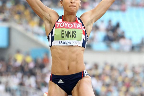 Jessica Ennis equals her personal best in the Long Jump in Daegu (Getty Images)