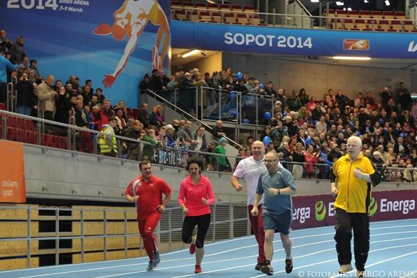 VIP race, including Szymon Ziolkowski (centre), at the official opening of the ERGO Arena in Sopot (Organisers)