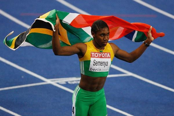Caster Semenya of South Africa celebrates winning the gold medal in the women's 800m in Berlin (Getty Images)