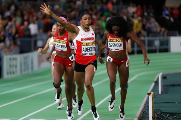 Kemi Adekoya wins the 400m at the IAAF World Indoor Championships Portland 2016 (Getty Images)