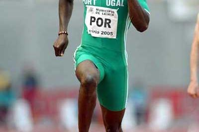 Francis Obikwelu of Portugal on his way to the 100m win in the European Cup (Div 1, Gr B) (Mark Shearman)