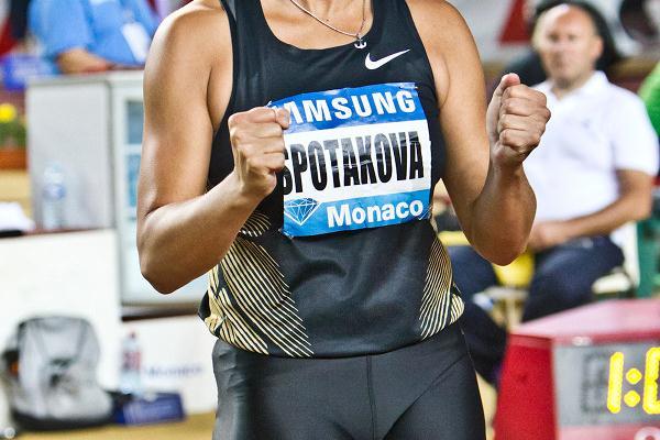 Barbora Spotakova afer unleashing her 69.45m world leader in Monaco (Philippe Fitte)