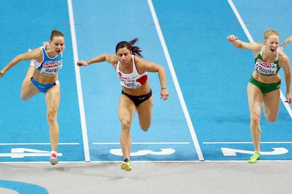 Nevin Yanit takes the 60m Hurdles title at the European Indoor Championships (Getty Images)