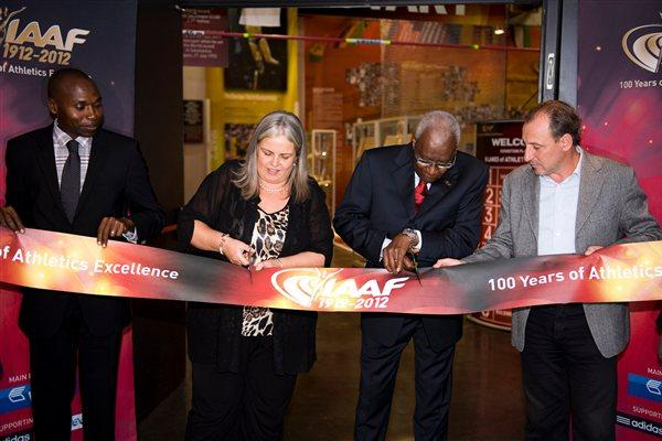 From left: IAAF Ambassador Wilson Kipketer, Deputy Major of the City of Barcelona Maite Fandos, IAAF President Lamine Diack and 1992 Olympic 1500m champion Fermin Cacho officially open the IAAF Centenary Exhibition at the Joan Antoni Samaranch Olympic and Sport Museum in Barcelona (Getty Images)
