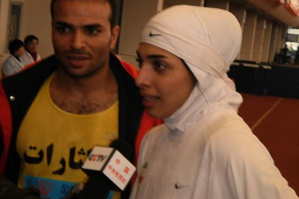 Iranian 400m winners Reza Bouazar and Maryam Toosi at Asian indoor championships in Hangzhou (Tony Daniel)