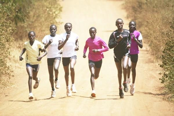Kenya's 8km champion Florence Kiplagat (extreme left) trains with her Kenya team senior women's team mates (left to right) Pauline Korikwiang, Innes Chenonge, Linet Chepkurui, Anne Karindi and Linet Masai in Embu on the slopes of Mt Kenya (Elias Makori)