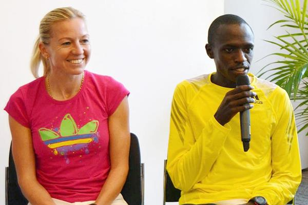 John Kiprotich and Petra Kaminkova ahead of the 2013 Mattoni Half Marathon in Olomouc (Organisers)