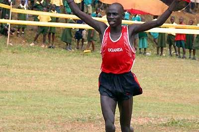 Isaac Kiprop celebrates his victory at the East Africa Cross Country Championships (Daniel Ssenfuma)