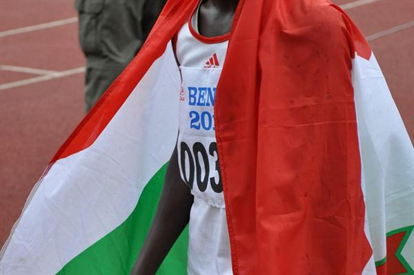 Burundian teenager Francine Niyonsaba after her dramatic 800m victory in Porto-Novo (Yomi Omogbeja/AthleticsAfrica.Com)