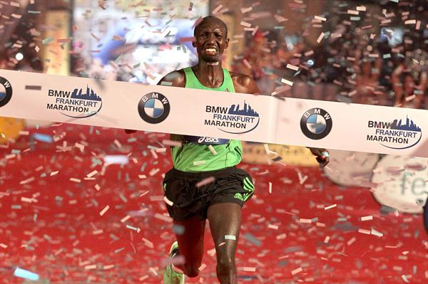 So close! Wilson Kipsang reaches the Frankfurt finish line in 2:03:42, just four seconds shy of the World record (Victah Sailer)