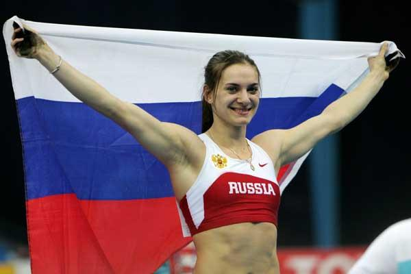 Yelena Isinbayeva of Russia celebrates her victory in the Pole Vault final (Getty Images)