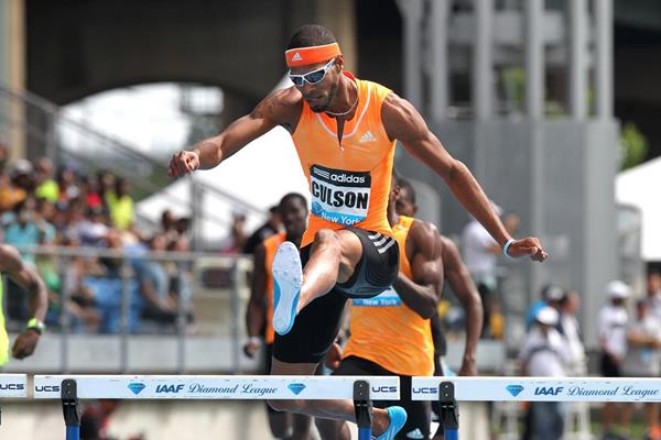 Javier Culson at the 2014 IAAF Diamond League meeting in New York (Victah Sailer)