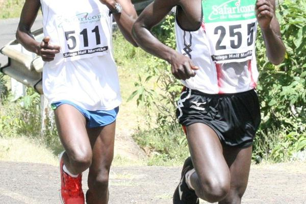 Vincent Loritam (255) leads William Chebon in the final stages of the fourth edition of the Baringo Half Marathon (David Macharia)