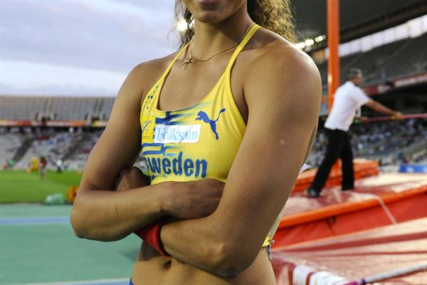 Angelica Bengtsson of Sweden poses after winning the gold medal on the on the Women's Pole Vault Final on the day five of the 14th IAAF World Junior Championships in Barcelona on 14 July 2012 (Getty Images)