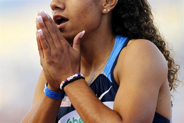 Stormy Kendrick of the USA is in disbelief after winning the 200m in a PB of 22.99 (Getty Images)