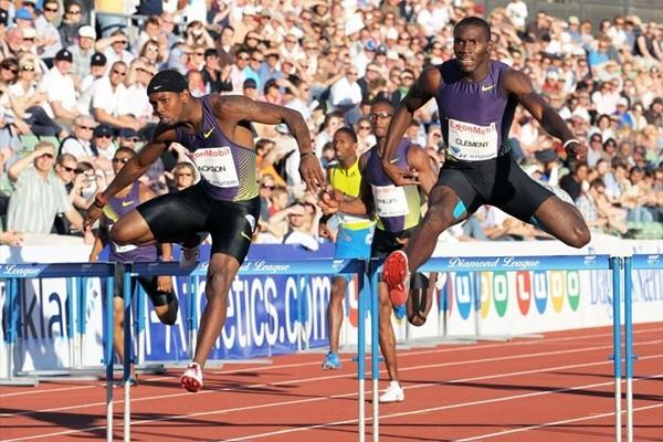 Kerron Clement (r) edges Bershawn Jackson in Oslo (Mark Shearman)