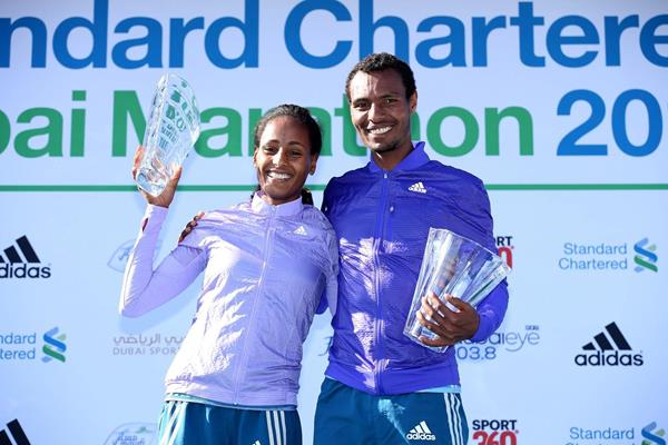 2015 Dubai Marathon winners Aselefech Mergia and Lemi Berhanu (Giancarlo Colombo)
