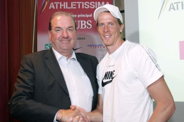 Jacky Delapierre and Christian Olsson at the Athletissima press conference in Lausanne (loc)