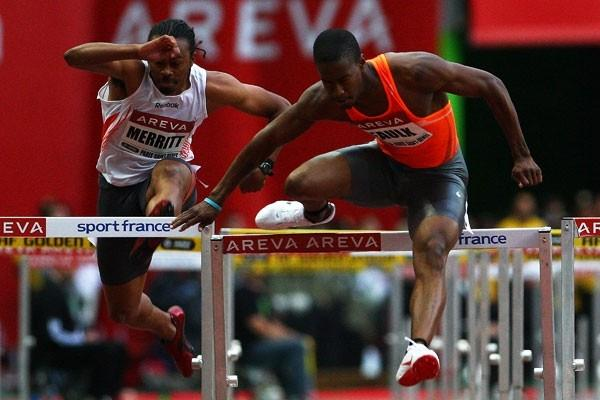 Dexter Faulk leads from gun to tape to win the 110m hurdles (Getty Images)