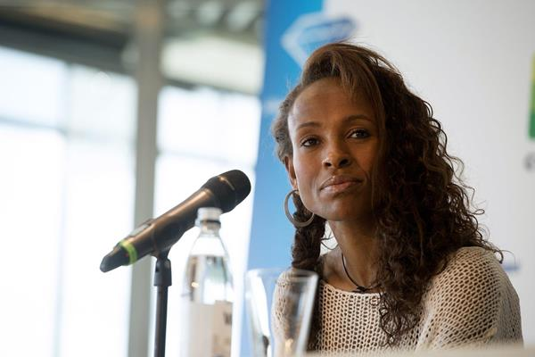 Meseret Defar at the pre-event press conference ahead of the 2013 IAAF Diamond League in Stockholm (Andres and Hasse Sjogren)